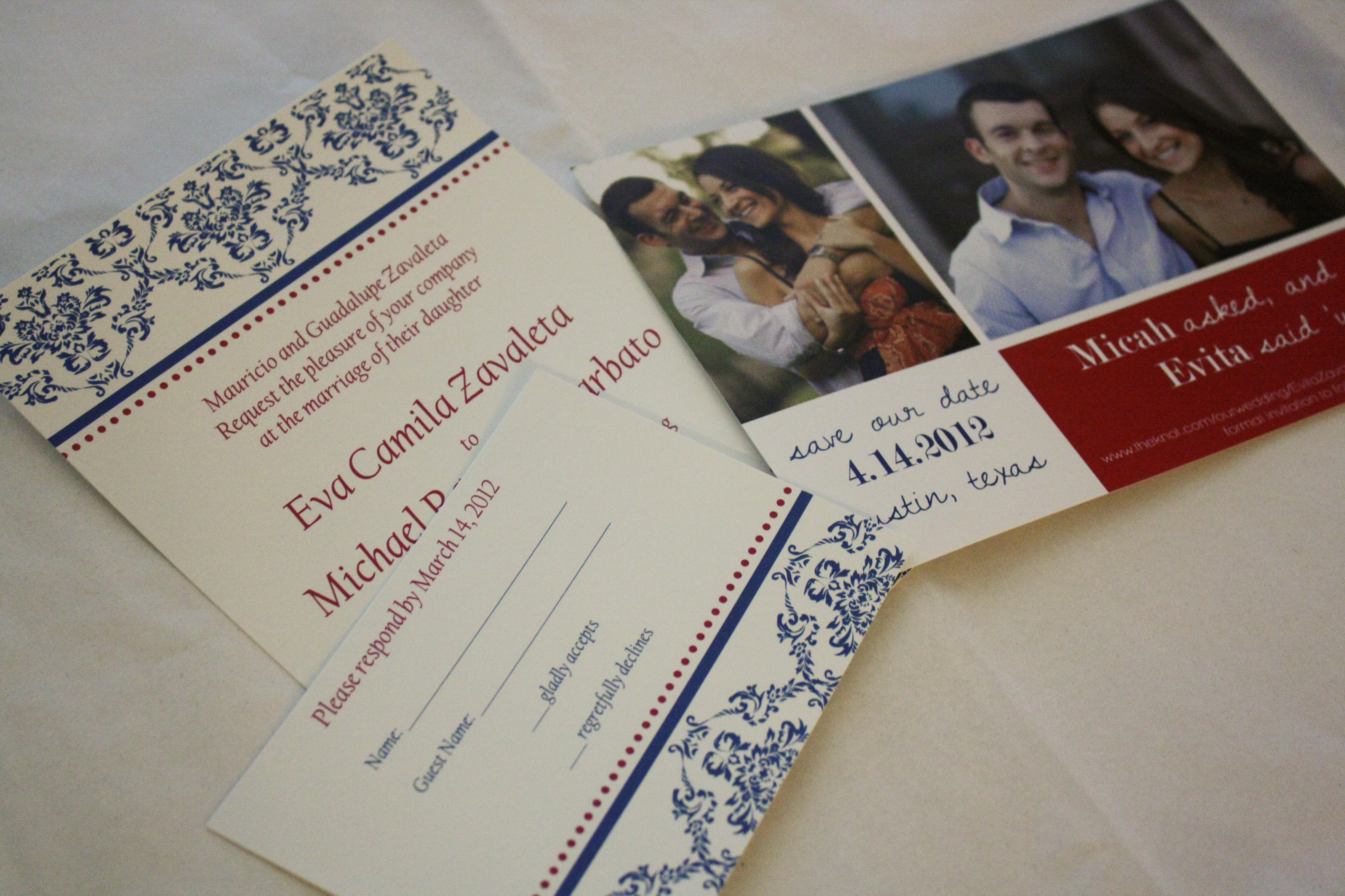 Here is the save the date wedding invitation and reply card